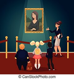 děti, do, muzeum, pohled, v, klasický, umělecké dílo