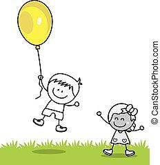 děti, hraní, ballons