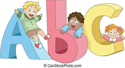 děti, hraní, s, abeceda