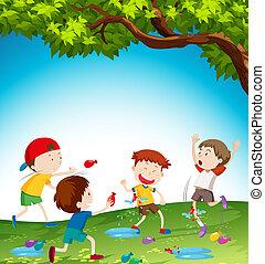 děti, hraní, s, namočit, balloon
