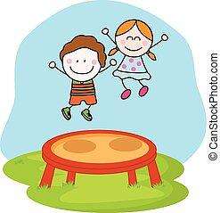 děti, hraní, trampolína