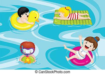 děti, kaluž, plavání