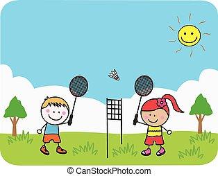 děti, mazlit se badminton