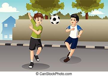 děti, mazlit se fotbal, oproti ulice, ilustrace