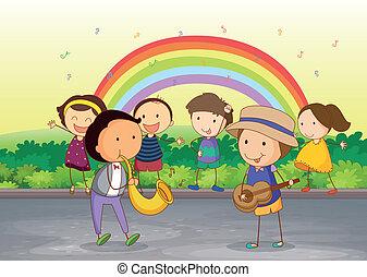 děti, mazlit se hudba