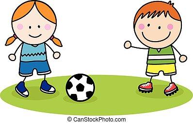 děti, mazlit se míč