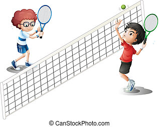 děti, mazlit se tennis