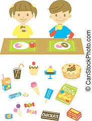 děti, obout si lehké jídlo, rozmanitý, cukroví