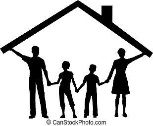 děti, rodina, ubytovat se, nad, střecha, pod, domů, domnívat...