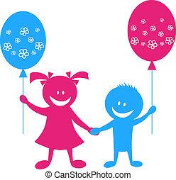 děti, s, balón