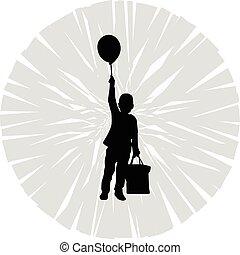 děti, s, balloon