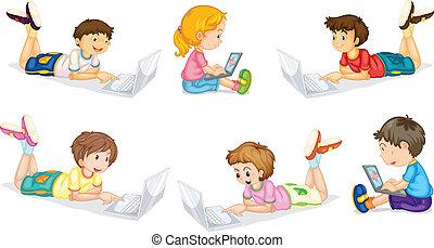 děti, s, počítač na klín
