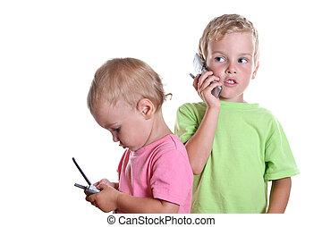 děti, s, telefonovat, 2