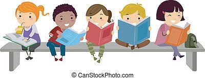 děti, seděn oproti lavice, čas, výklad