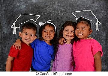 děti, v, škola