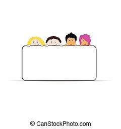 děti, vektor, ilustrace, do, barvitý