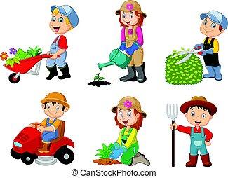 děti, zahradničení, vybírání