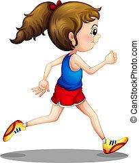 děvče, běh, mládě
