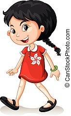 děvče, chůze, sám, hongkong