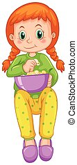 děvče, chutnat jak, praená kukuřice, sám