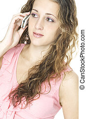 děvče, dále, cellphone