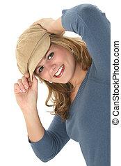 děvče, dívčí, klobouk