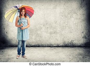 děvče, deštník, mládě