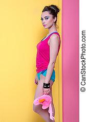 děvče, do, bystrý, šaty, dále, jeden, barva grafické pozadí, za, style.