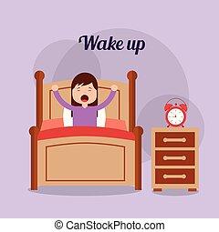 děvče, do, jeho, sloj, s, hodiny, noční stolek, probudit se