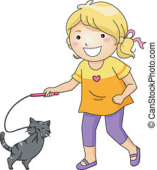 děvče, hraní, kočka