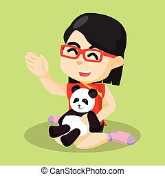 děvče, hraní, panda, ji, panenka