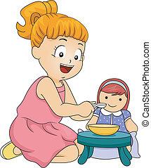 děvče, hraní, panenka
