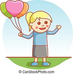 děvče, hraní, s, balloon