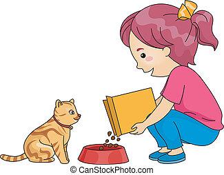 děvče, krmení, kočka