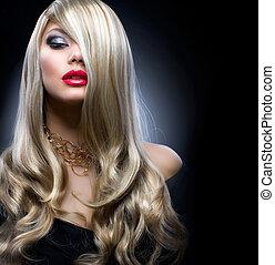 děvče, móda, blond