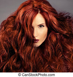 děvče, móda, hair., portrét, červeň