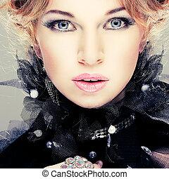 děvče, móda, hairs., portrait., accessorys., červeň