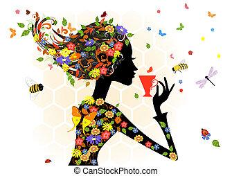 děvče, móda, květiny