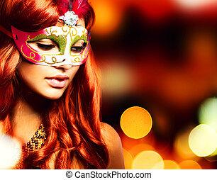děvče, maskovat, masopust, masquerade., překrásný