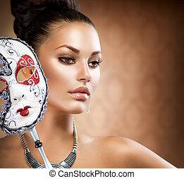 děvče, masquerade., maskovat, masopust, kráska