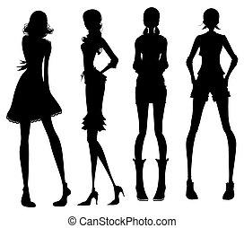 děvče, moderní, silueta