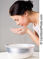 děvče, mytí