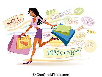 děvče, nakupování