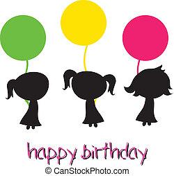 děvče, narozeniny, šťastný
