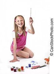 děvče, neposkvrněný, kartáč, grafické pozadí