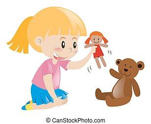 děvče, panenka, hraní, nést, eda