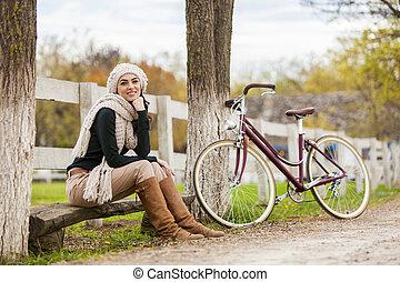 děvče, s, jezdit na kole