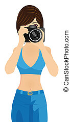 děvče, s, kamera, vektor