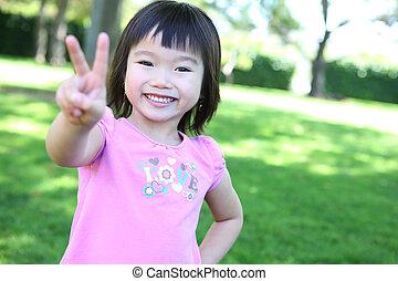děvče, sad, asijský, šikovný
