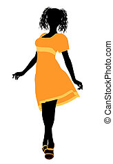 děvče, silhouette4, ilustrace, módní